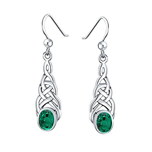 Gemsonclick Elegir tu color plata de ley creada o natural con piedras preciosas celtas, diseño de pendientes de gota lineal, joyería ovalada para mujeres y niñas, regalo de alambre de pescado verde