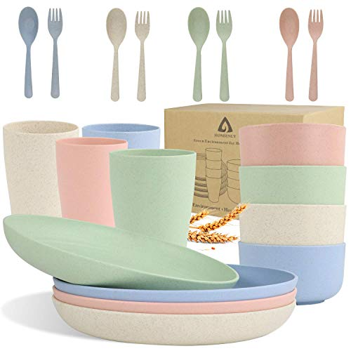 Wheat Straw Dinnerware Sets, Homienly 20pcs Unbreakable Microwave Dishwasher Safe Tableware Lightweight Bowls,Cups,Plates Set Reusable Dinner Plates Bowls set