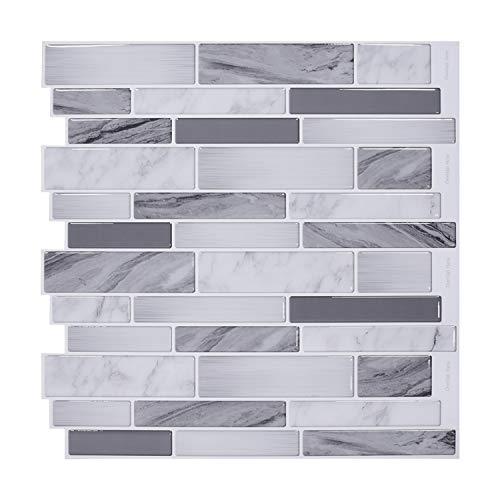 Vamos Tile 12  x 12  Premium Peel and Stick Tiles Backsplash,Kitchen Backsplash Bathroom Wall Tile(10 Sheets)