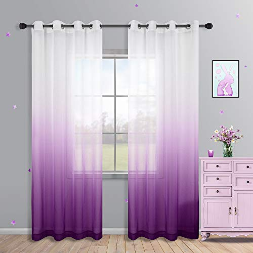 Purple Curtains 84 Inch Length for Girls Bedroom Decor Set 2 Panels Grommet Voile Semi Sheer Lavender Lilac Gradient Ombre Light Purple Decorative Curtains for Girls Room Decoration Party 52x84 Long