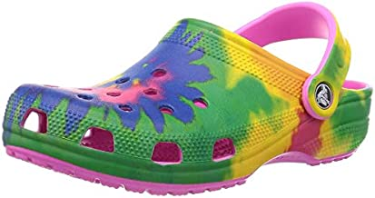 Crocs unisex adult Classic Tie Dye | Comfortable Slip on Water Shoes Clog, Electric Pink/Multi, 9 Women 7 Men US