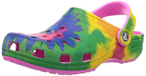 crocs unisex adult Men's and Women's Classic Tie Dye | Comfortable Slip on Casual Water Shoe Clog, Electric Pink/Multi, 10 Women 8 Men US