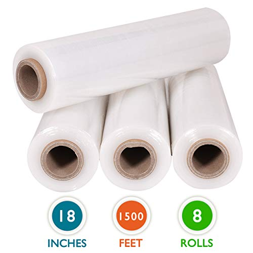 "8 Rolls 18"" x 1500 Ft Stretch Wrap Heavy Duty, Industrial Strength Shrink Wrap, 55 Gauge High Performance Stretch Film Replaces 80 Gauge Low Films, Clear Hand Stretch Wrap Photo #5"