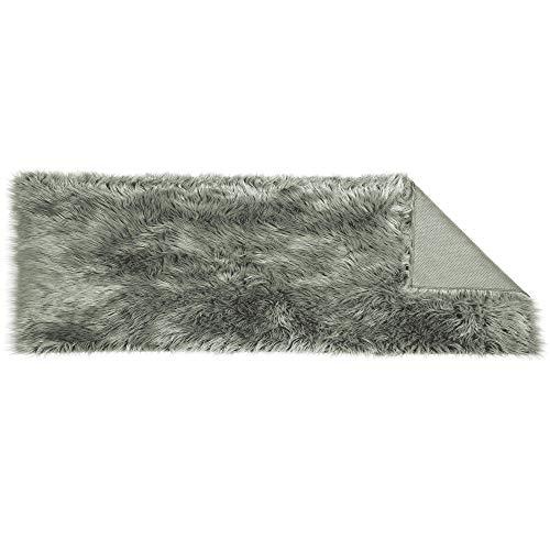 CelinaTex Plush loper vierkant 50 x 150 cm grijs hoogpolige imitatiebont vloerkleed kunstbont langhaar bedmat 5001579