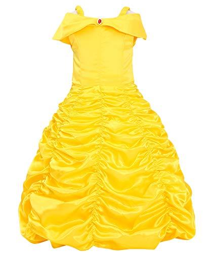 Le SSara Weihnachtsmädchen Prinzessin Cosplay Kostüm Fancy Schmetterling Kleid (110, E39-yellow)