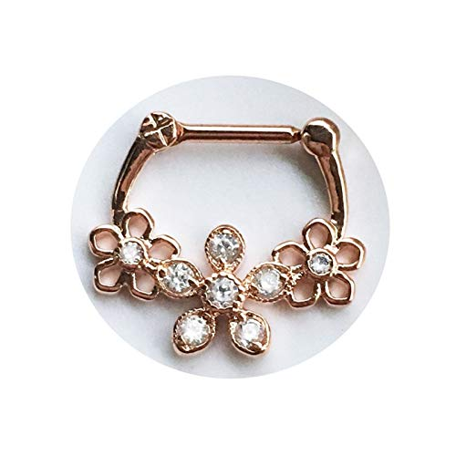 XPWOZ 1 piece of hollow flower septum perforated nose ring for women and men body jewelry (Color : Rose Gold)