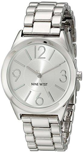 Nine West Reloj analógico para Mujer de Cuarzo con Correa en Acero Inoxidable NW/1663SVSB