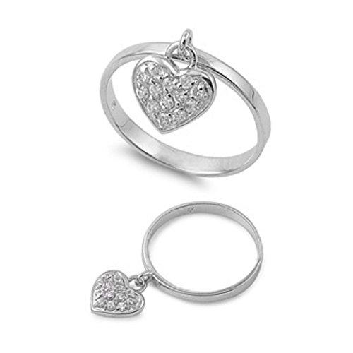 Ring aus Sterlingsilber mit Zirkonia - Herz