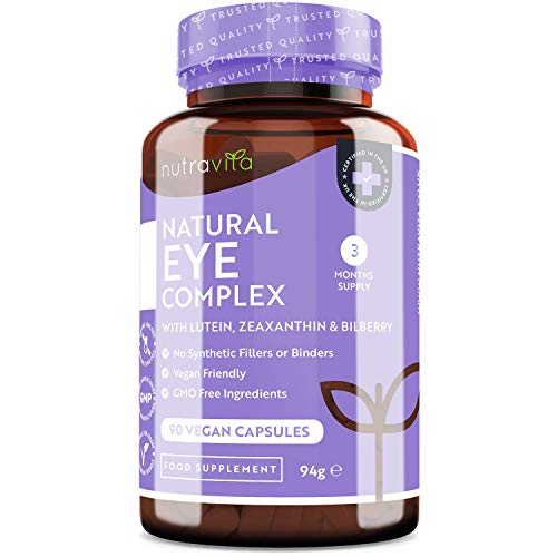 Natural Eye Complex – with Lutein, Zeaxanthin, Bilberry Extract, Vitamins A, B12 & Zinc – for Maintenance of Normal Vision – 90 Vegan Capsules – 3 Month Supply – Made in The UK by Nutravita