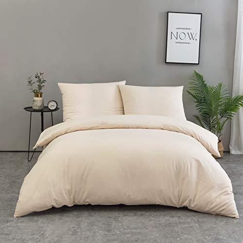 QZY Baumwolle Bettwäsche 200x200 cm Beige 3er Set Bettbezug mit 2 Kopfkissenbezug 80x80 cm