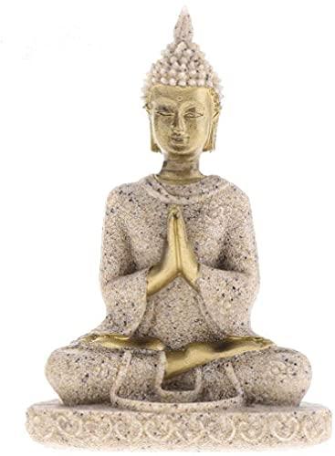 Sunnyway Statua di Buddha in Pietra arenaria Scultura Statua di Buddha in Finitura arenaria per la Decorazione dell'ornamento Domestico