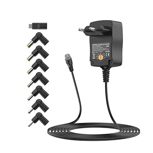 Outtag Cargador de 36W 3V-12V 3000mA y 8 conectores para cámara, router, dispositivos digitales, frambuesa, radio, pantalla, LED, rayas, hub USB, cargador portátil, pequeño dispensador de agua.