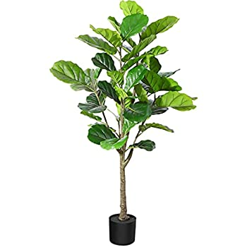 Fopamtri Artificial Fiddle Leaf Fig Tree 4.3 Feet Feaux Ficus Lyrata Plant with 44 Leaves Faux Plant for Indoor Outdoor Fake Plants in Pot for Home Office Perfect Housewarming Gift