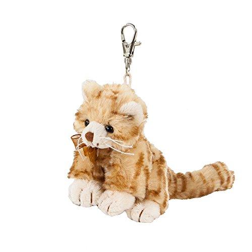 Teddys Rothenburg Kuscheltier, Schlüsselanhänger, Katze, Loke, 11 cm, rot, braune Nase, Plüschkatze