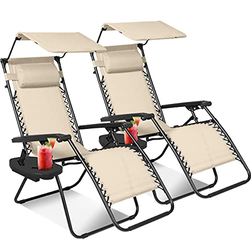 KEPLIN Set of 2 Heavy Duty Textoline Zero Gravity Chairs | Garden Outdoor...