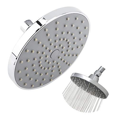 Cafopgrill Cabezal de Ducha 6 Pulgadas Redondo de Alta presión Lluvia Cromado Superior pulverizador Accesorios de baño de Plata 0-80 ℃