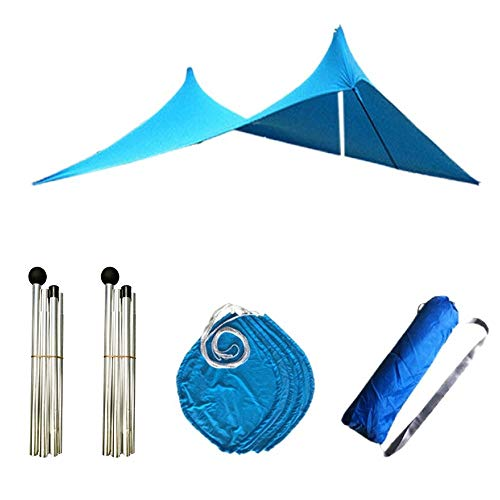MiOYOOW - Refugio para tienda de campaña portátil, toldo de playa con anclajes para bolsa de arena y postes de apoyo, ligero, refugio para la familia, Azul