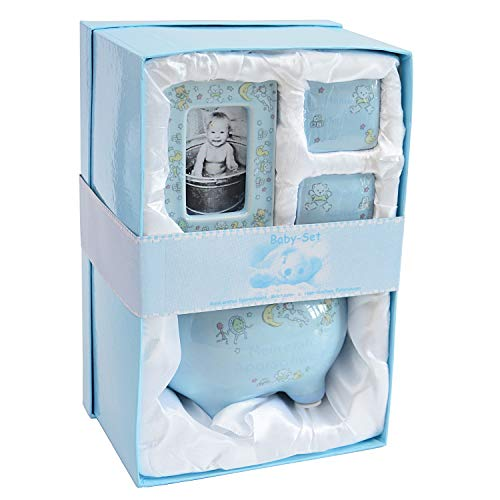 Fertiges Baby Geschenkset mit Sparschwein Bilderrahmen und Döschen für die ersten Haare und Zähne (blau)