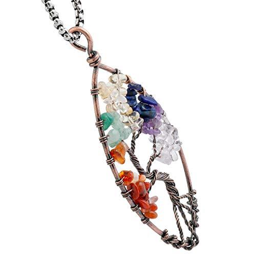 TUMBEELLUWA árbol Vida Colgante Collar Piedra curación Cristal Cuarzo Chakra Hecho a Mano joyería Mujer