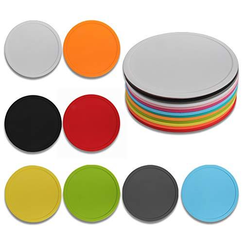 JAHEMU Rund Silikon Untersetzer Non Slip Schwarz Gummi Weich Untersetzer für Glas Tassen Getränke Teetassen Premium Tischuntersetzer 8 Pack