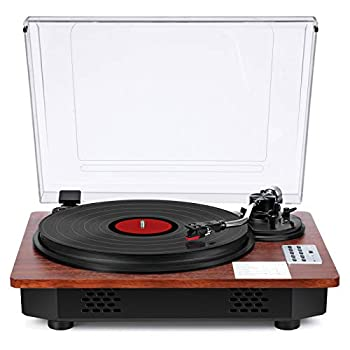 Vinyl Record Player with Speakers Turntable for Vinyl Records Bluetooth Input Output USB Recording 3-Speed Pitch Speed Counterweight Adjustment Fashion Wood Design