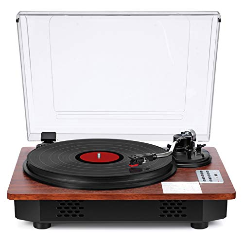 Record Player with Speakers Turntable for Vinyl Records Bluetooth Input & Output USB Direct Vinyl to MP3 Recording Pitch & Counterweight Adjustment 3 Speed Vintage Vinyl Record Player