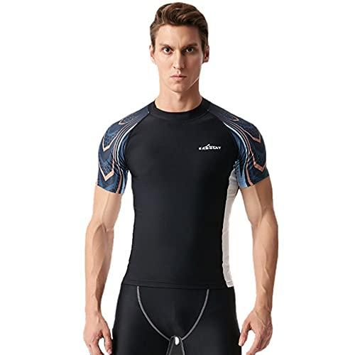 Owntop Rash Vest Uomo UV UPF50 + Rash Guard - Camicia da Bagno a Maniche Corte per Adulti Protezione Solare Nuoto Surf Top Immersioni Maglietta da Spiaggia, XXL