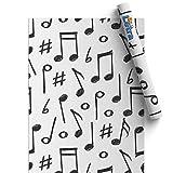Vinilos para Muebles, Papel Adhesivo para Muebles del Hogar y Cocina, Nota musical, Papel Pintado de Vinilo Autoadhesivo Impermeable para Armario, Mesa, etc - 45x200cm