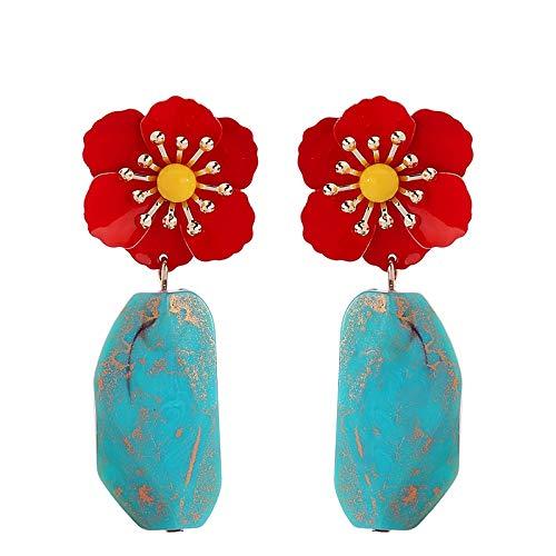 NOBRAND Pendientes De Mujer Pendientes De Gota De Flor De Hierro De Piedra Sintética Irregular Joyas De Moda para Mujer