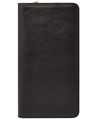 Fossil Leather Zip Around Passport Holder Case Wallet , Black