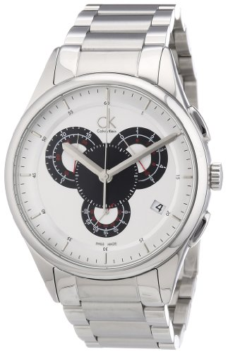 Calvin Klein Calvin Klein Basic Chrono K2A27185 - Reloj cronógrafo de Cuarzo para Hombre, Correa de Acero Inoxidable Color Plateado