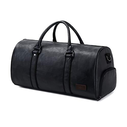 Asge Reisetasche Leder Herren Sporttasche Große Männer Fitnesstasche Damen 40L Duffel Bag Wasserdicht Weekender Travel Bag Women Vintage Handgepäck Tasche mit Schuhfach