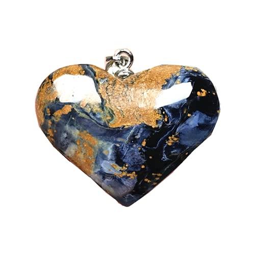 Natural Pietersite colgante azul en forma de corazón Pietersita piedra 925 joyería de plata para mujeres hombres 27x8mm cuentas de cristal plata esterlina energía suerte piedra preciosa