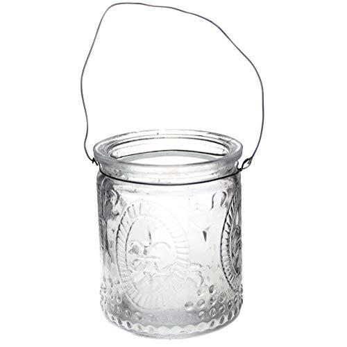 Annastore 12 oder 6 Stück Windlichter aus Glas zum Hängen mit Henkel H 7 cm -Teelichtgläser klar im Vintage Look - Hängeteelichthalter (6 x Weiß)