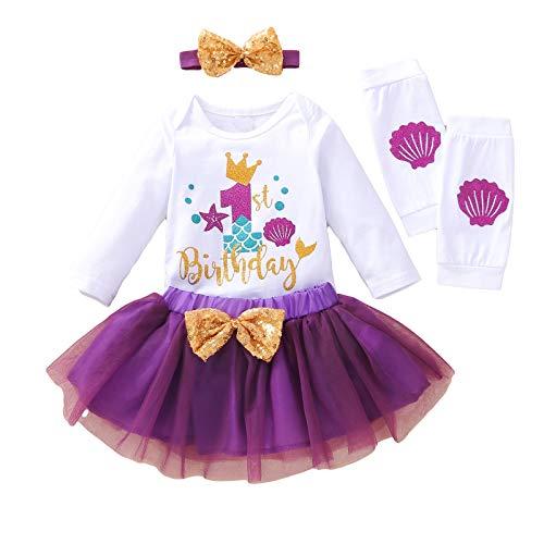 Haokaini Conjunto de ropa de primer cumpleaños para bebé niña primer cumpleaños mameluco de malla tutú falda diadema calentador de piernas para bebé niño pequeño primer cumpleaños pastel Smash
