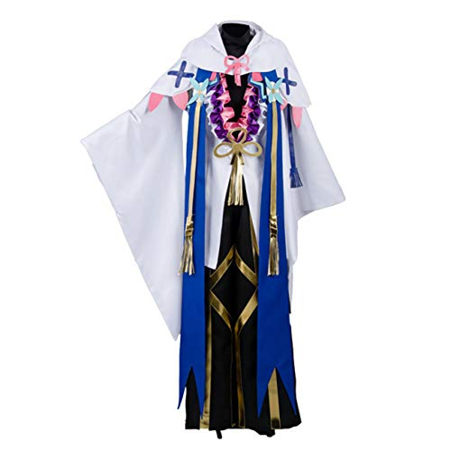 Fate Merlin Caster Prophet Magus of Flowers Halloween Cosplay Costume S028 (Male XS) White