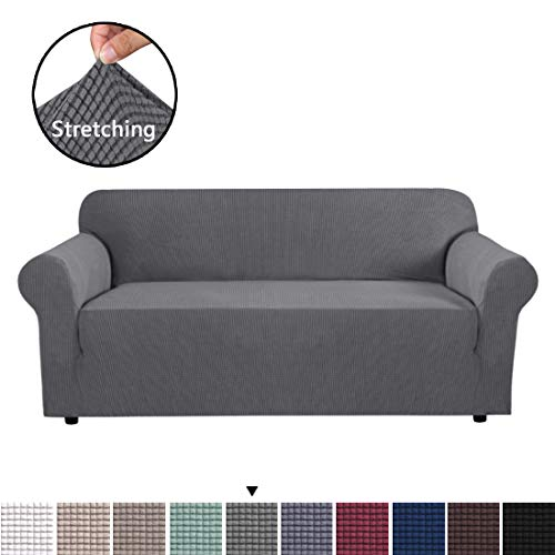 High Stretch Sofa Cover 1 Piece Couch Covers, Lounge Covers for 3 Cushion Couch, Sofa Slipcover for Living Room, Sofa Cover Stretch, Lycra Jacquard Sofa Slipcover 3 Cushion (3 Seater: Steel Grey)