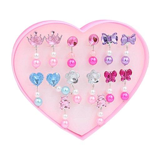 Toymytoy 7 Paar Clip-on-Ohrringe für Kinder, Prinzessinnen-Ohrringe, Clips für Mädchen, zum Spielen mit verschiedenen Stilen, gut als Partygeschenk (Acryl)