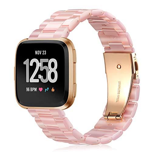 Fintie Correa Compatible con Fitbit Versa 2 / Fitbit Versa/Fitbit Versa Lite - Pulsera de Repuesto de Resina Premium con Hebilla de Metal, Rosa