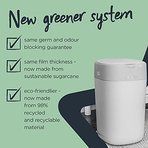 Tommee Tippee Twist and Click Advanced Nappy Bin Refill Cassettes, Sustainably Sourced Antibacterial GREENFILM, Pack of 3 (Packaging May Vary)