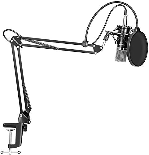 LYPULIGHT BM-800 Micrófono de condensador profesional Grabación de Estudio Radio Kit con Brazo de Suspensión para Grabación Ajustable con Soporte Antigolpes y Kit de Abrazadera