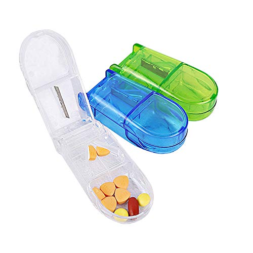 VEGCOO 3pcs Píldora Cortador, Divisor de Pastillas con Compartimiento de Almacenamiento Caja para Tableta Vitamina Medicamento (Azul+Verde+ Claro)