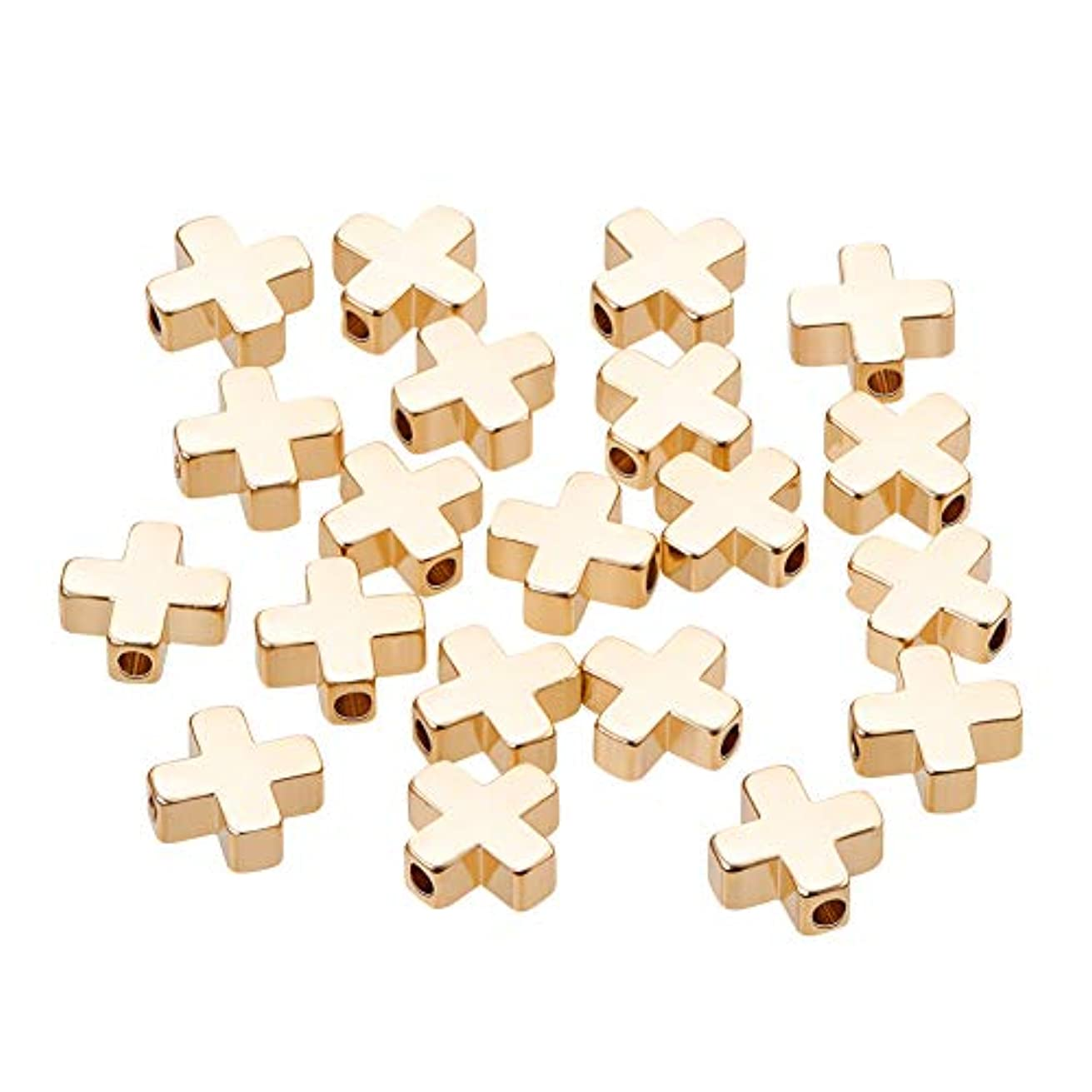 BENECREAT 20 PCS 18K Gold Plated Spacer Beads Metal Beads for DIY Jewelry Making Findings and Other Craft Work - 8x8x3mm, Cross Shape