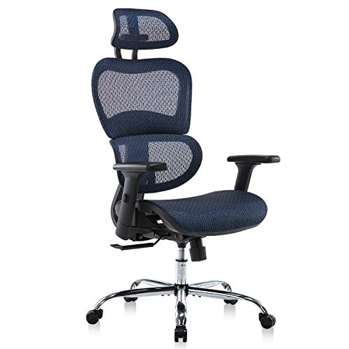 Office Chair, Ergonomics Mesh Chair Computer Chair Desk Chair High Back Chair w/Adjustable Headrest and Armrests - Blue