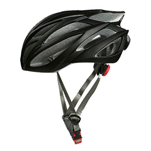 YATT Casco De Bicicleta, Una Pieza Ultraligero Resistente A Los Impactos Tamaño Ajustable Extraíble Tamaño Libre Casco Negro para Montar Adecuado para Hombres Adultos Mujeres