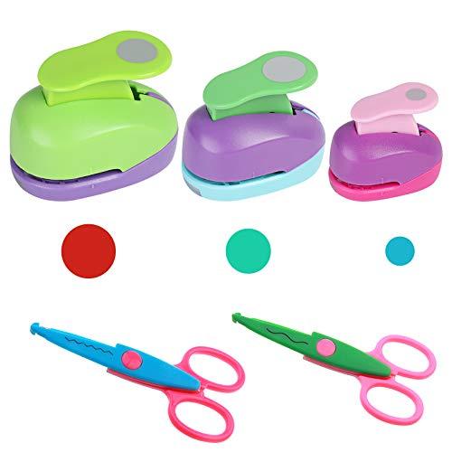 Juego de perforadoras para manualidades, 3 punzones circulares + 2 tijeras para cortar papel, manualidades y manualidades, para niños, hacer álbumes de recortes, proyectos escolares (color al azar)