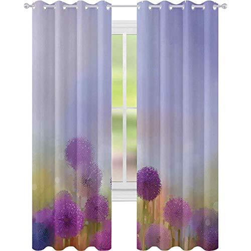 Cortinas térmicas con aislamiento, diseño de cebolla en el prado, decoración pastoral en la primavera, 52 x 72, cortinas opacas para sala de estar, morado lavanda