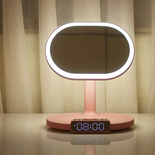FAPROL Espejo De Maquillaje Espejo con Altavoz Bluetooth Espejo De Tocador con Luz Interruptor Táctil Estilo De Carga USB Reloj LED Pink