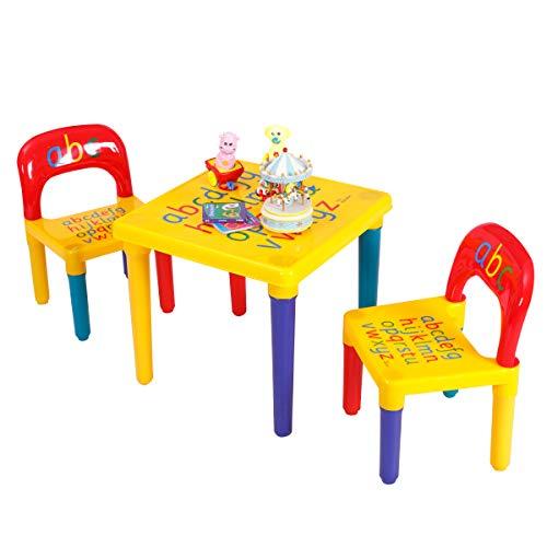 Giantex 3 TLG. Kindersitzgruppe, Kindertisch mit 2 Stühlen Sitzgruppe für Kinder, Kindermöbel Set, farbig