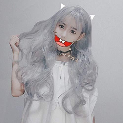 TYV Granny grijze lucht Liu Hai lang krullend haar, grote golf temperament gezicht pruik, comfortabele pasvorm beeld realistisch